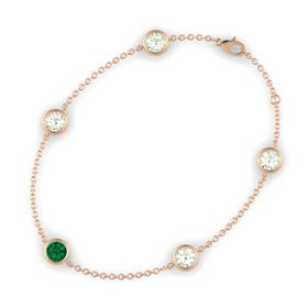 Round Emerald 14K Rose Gold Bracelet with Green Amethyst