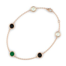 Round Emerald 14K Rose Gold Bracelet with Black Onyx and Green Amethyst