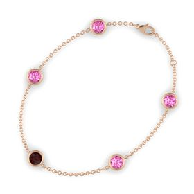 Round Red Garnet 14K Rose Gold Bracelet with Pink Sapphire