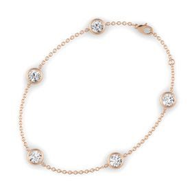 Round White Sapphire 14K Rose Gold Bracelet with White Sapphire