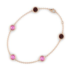 Round Pink Sapphire 14K Rose Gold Bracelet with Pink Sapphire and Red Garnet