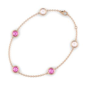 Round Pink Sapphire 14K Rose Gold Bracelet with Pink Sapphire & Rose Quartz