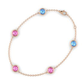 Round Pink Sapphire 14K Rose Gold Bracelet with Pink Sapphire and Blue Topaz