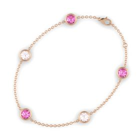 Round Pink Sapphire 14K Rose Gold Bracelet with Rose Quartz & Pink Sapphire