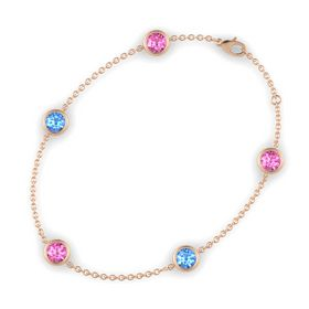 Round Pink Sapphire 14K Rose Gold Bracelet with Blue Topaz and Pink Sapphire