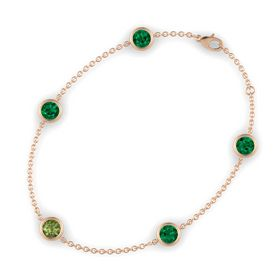 Round Green Tourmaline 14K Rose Gold Bracelet with Emerald