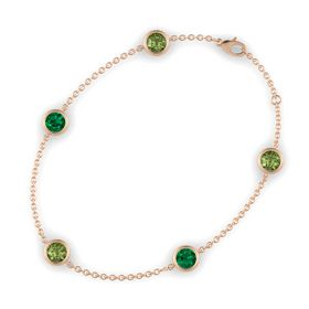 Round Green Tourmaline 14K Rose Gold Bracelet with Emerald and Green Tourmaline
