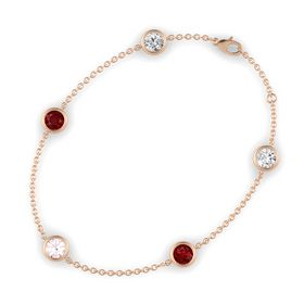 Round Rose Quartz 14K Rose Gold Bracelet with Ruby and White Sapphire