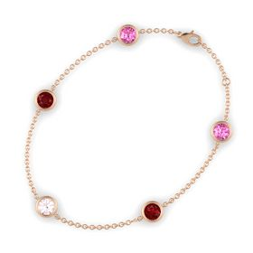 Round Rose Quartz 14K Rose Gold Bracelet with Ruby and Pink Sapphire