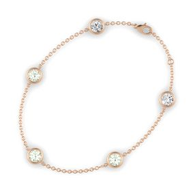 Round Green Amethyst 14K Rose Gold Bracelet with Green Amethyst & White Sapphire