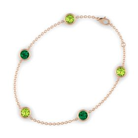 Round Peridot 14K Rose Gold Bracelet with Emerald and Peridot