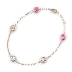 Round Aquamarine 14K Rose Gold Bracelet with White Sapphire & Pink Sapphire
