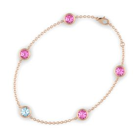 Round Aquamarine 14K Rose Gold Bracelet with Pink Sapphire