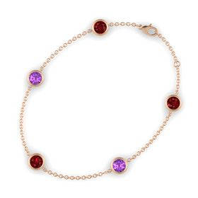 Round Ruby 14K Rose Gold Bracelet with Amethyst & Ruby