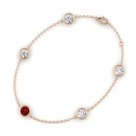 Round Ruby 14K Rose Gold Bracelet with White Sapphire