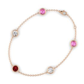 Round Ruby 14K Rose Gold Bracelet with White Sapphire and Pink Sapphire