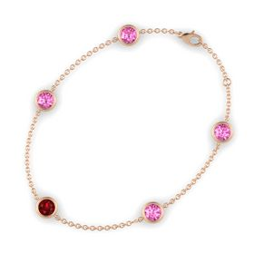 Round Ruby 14K Rose Gold Bracelet with Pink Sapphire