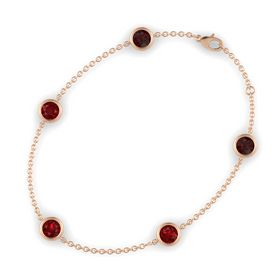 Round Ruby 14K Rose Gold Bracelet with Ruby and Red Garnet