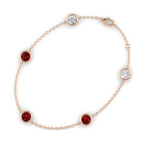Round Ruby 14K Rose Gold Bracelet with Ruby and White Sapphire