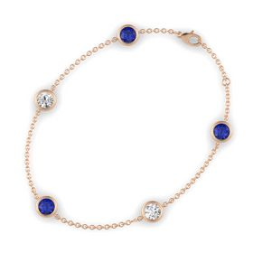 Round Sapphire 14K Rose Gold Bracelet with White Sapphire & Sapphire