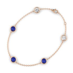 Round Blue Sapphire 14K Rose Gold Bracelet with Blue Sapphire and White Sapphire