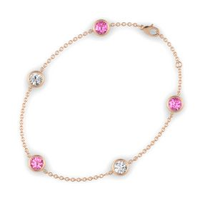 Round Pink Tourmaline 14K Rose Gold Bracelet with White Sapphire & Pink Sapphire
