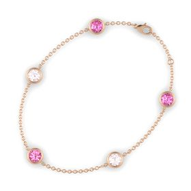 Round Pink Tourmaline 14K Rose Gold Bracelet with Rose Quartz and Pink Sapphire