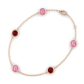 Round Pink Tourmaline 14K Rose Gold Bracelet with Ruby and Pink Tourmaline
