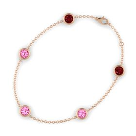 Round Pink Tourmaline 14K Rose Gold Bracelet with Pink Tourmaline and Ruby