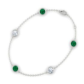 Round Emerald 14K White Gold Bracelet with Moissanite and Emerald