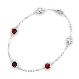 Round Red Garnet 14K White Gold Bracelet with Ruby and Moissanite