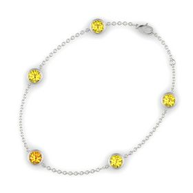 Round Citrine 14K White Gold Bracelet with Yellow Sapphire