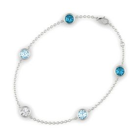 Round White Sapphire 14K White Gold Bracelet with Aquamarine and London Blue Topaz