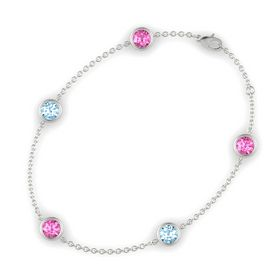 Round Pink Sapphire 14K White Gold Bracelet with Aquamarine and Pink Sapphire