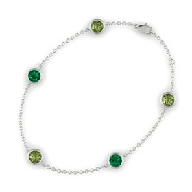 Round Green Tourmaline 14K White Gold Bracelet with Emerald and Green Tourmaline