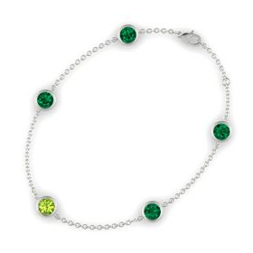 Round Peridot 14K White Gold Bracelet with Emerald