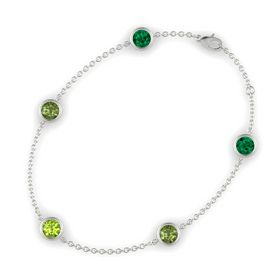 Round Peridot 14K White Gold Bracelet with Green Tourmaline and Emerald