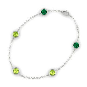 Round Peridot 14K White Gold Bracelet with Peridot and Emerald