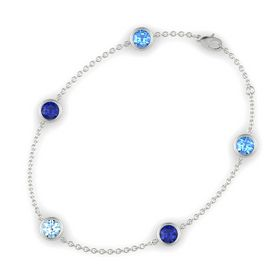 Round Aquamarine 14K White Gold Bracelet with Blue Sapphire and Blue Topaz