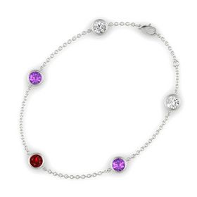 Round Ruby 14K White Gold Bracelet with Amethyst & White Sapphire