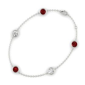 Round Ruby 14K White Gold Bracelet with White Sapphire & Ruby