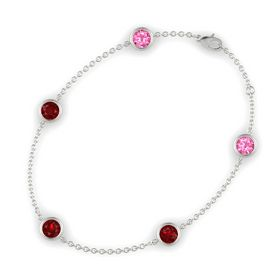 Round Ruby 14K White Gold Bracelet with Ruby and Pink Tourmaline