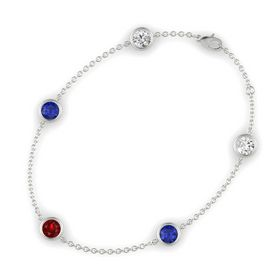 Round Ruby 14K White Gold Bracelet with Blue Sapphire and White Sapphire
