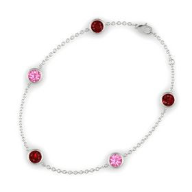 Round Ruby 14K White Gold Bracelet with Pink Tourmaline and Ruby
