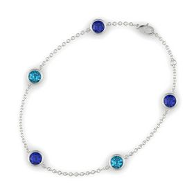 Round Blue Sapphire 14K White Gold Bracelet with London Blue Topaz and Blue Sapphire