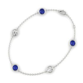 Round Sapphire 14K White Gold Bracelet with White Sapphire & Sapphire