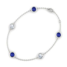 Round Blue Sapphire 14K White Gold Bracelet with Moissanite and Blue Sapphire