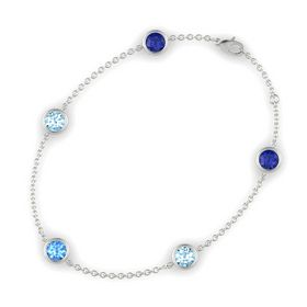 Round Blue Topaz 14K White Gold Bracelet with Aquamarine and Blue Sapphire