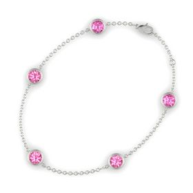 Round Pink Tourmaline 14K White Gold Bracelet with Pink Tourmaline and Pink Sapphire