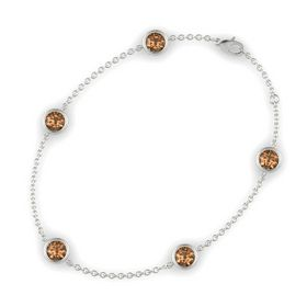 Round Smoky Quartz 14K White Gold Bracelet with Smoky Quartz